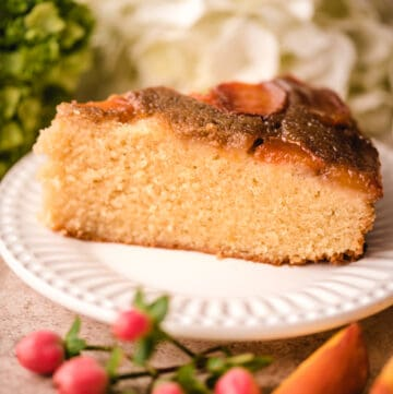 Enjoy a slice of this caramel peach upside down cake any time of year.