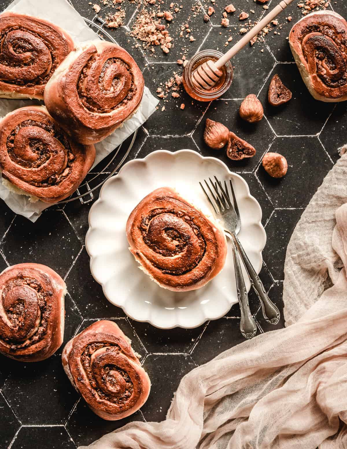 The dried figs in these honey walnut cinnamon rolls are the perfect filling.