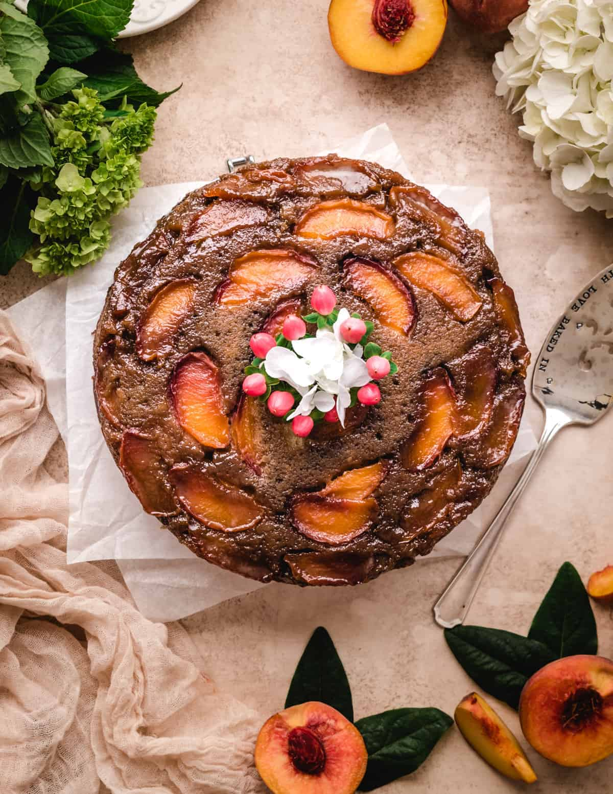 This caramel peach upside down cake is the perfect summer dessert.