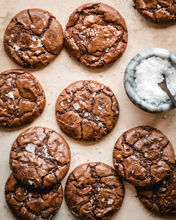 try sandwiching these brownie cookies with salted caramel frosting
