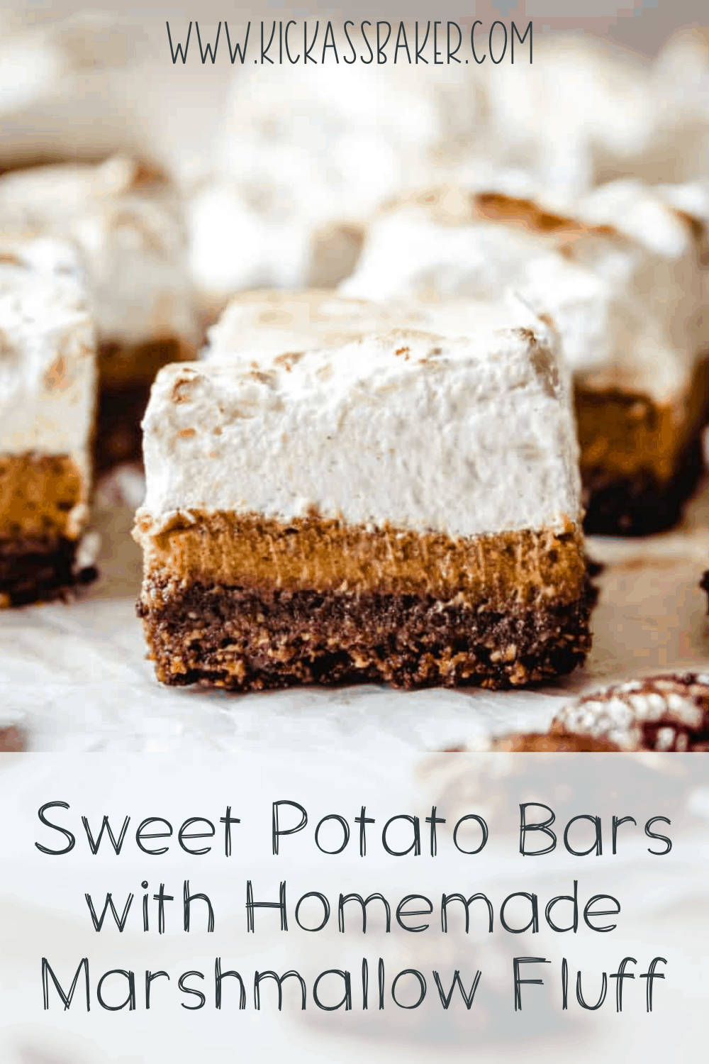 These sweet potato bars with a pecan crust and homemade marshmallow fluff will make a delicious Thanksgiving dessert.