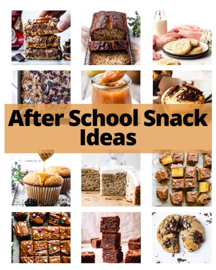 collage of images for after school snack ideas