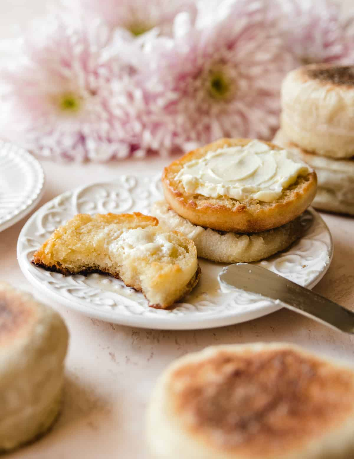 These English muffins are the perfect base for sweet butter or jam for breakfast.