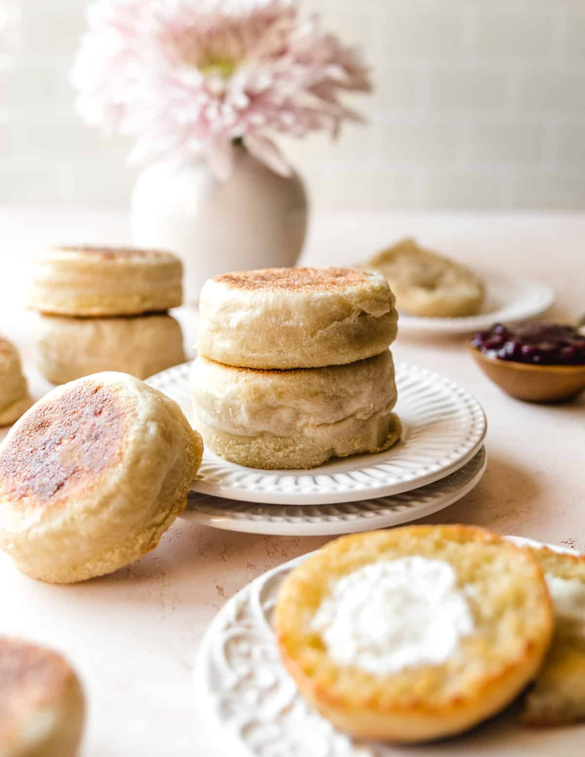 These easy overnight English muffins are a breakfast staple.