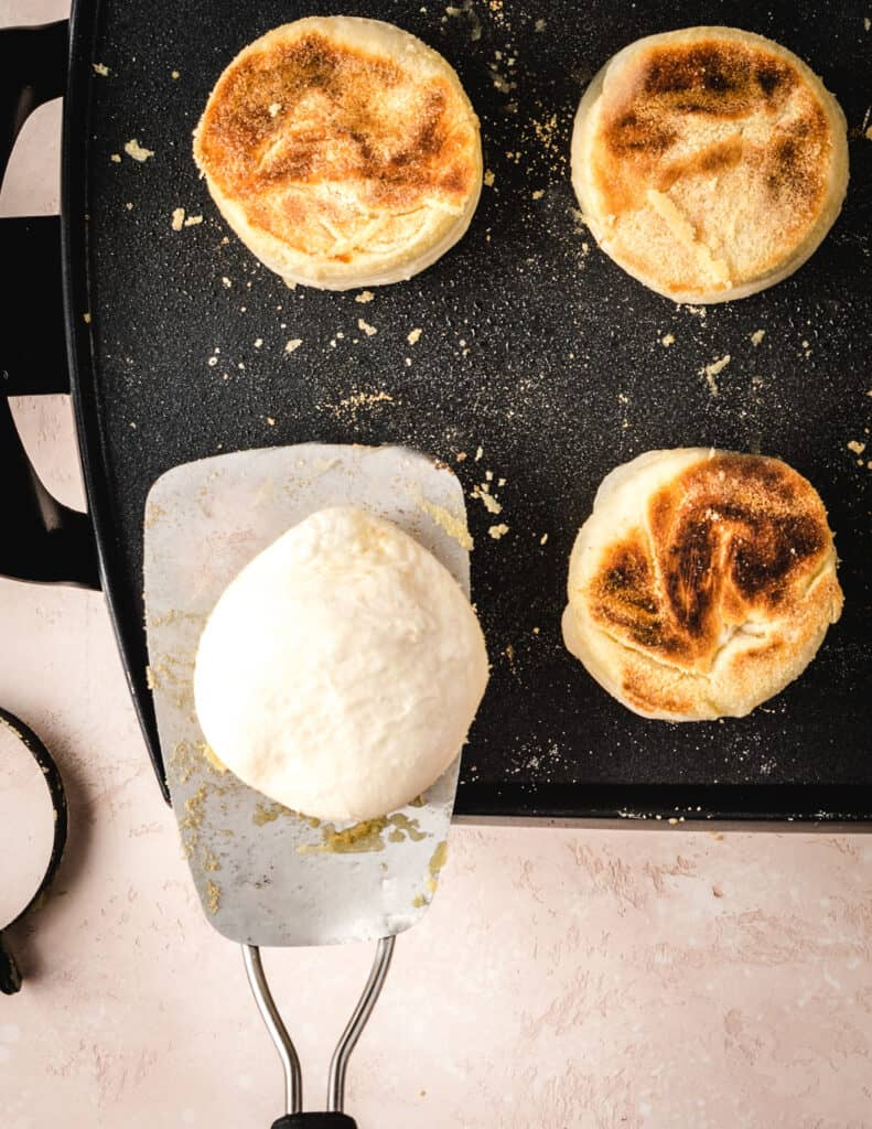 Brown the outside of your overnight English muffins.