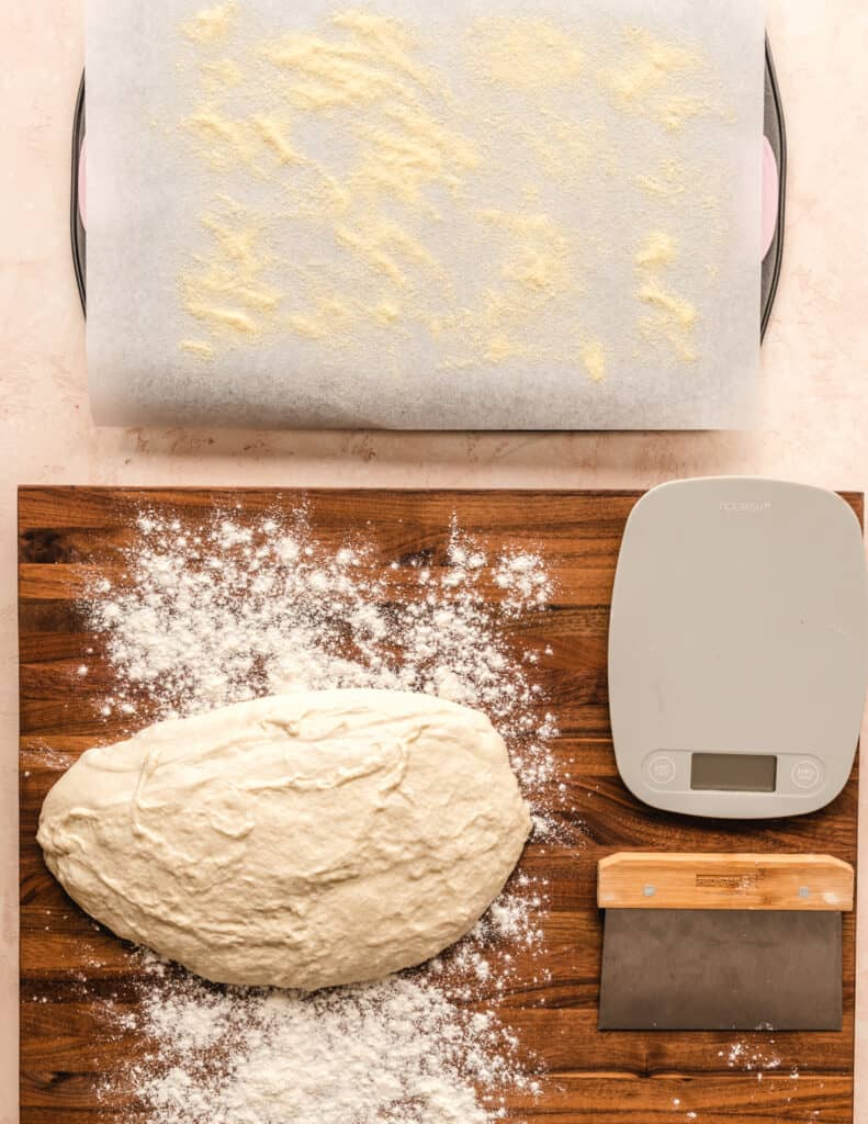 Be sure your surface has a good dusting of flour when working with these easy English muffins.