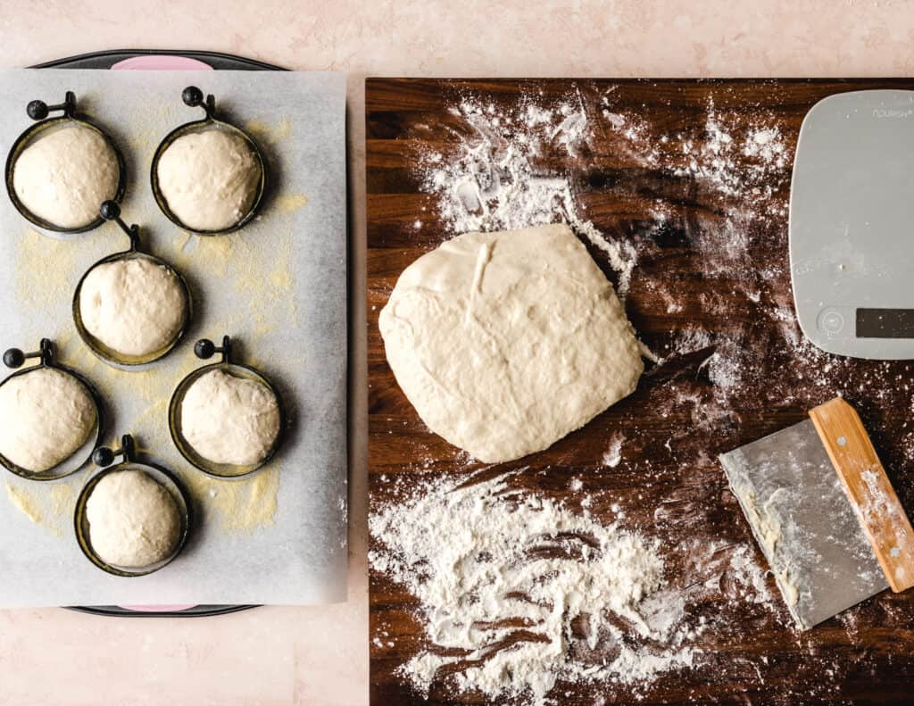 Let your dough rise inside the ring molds overnight.