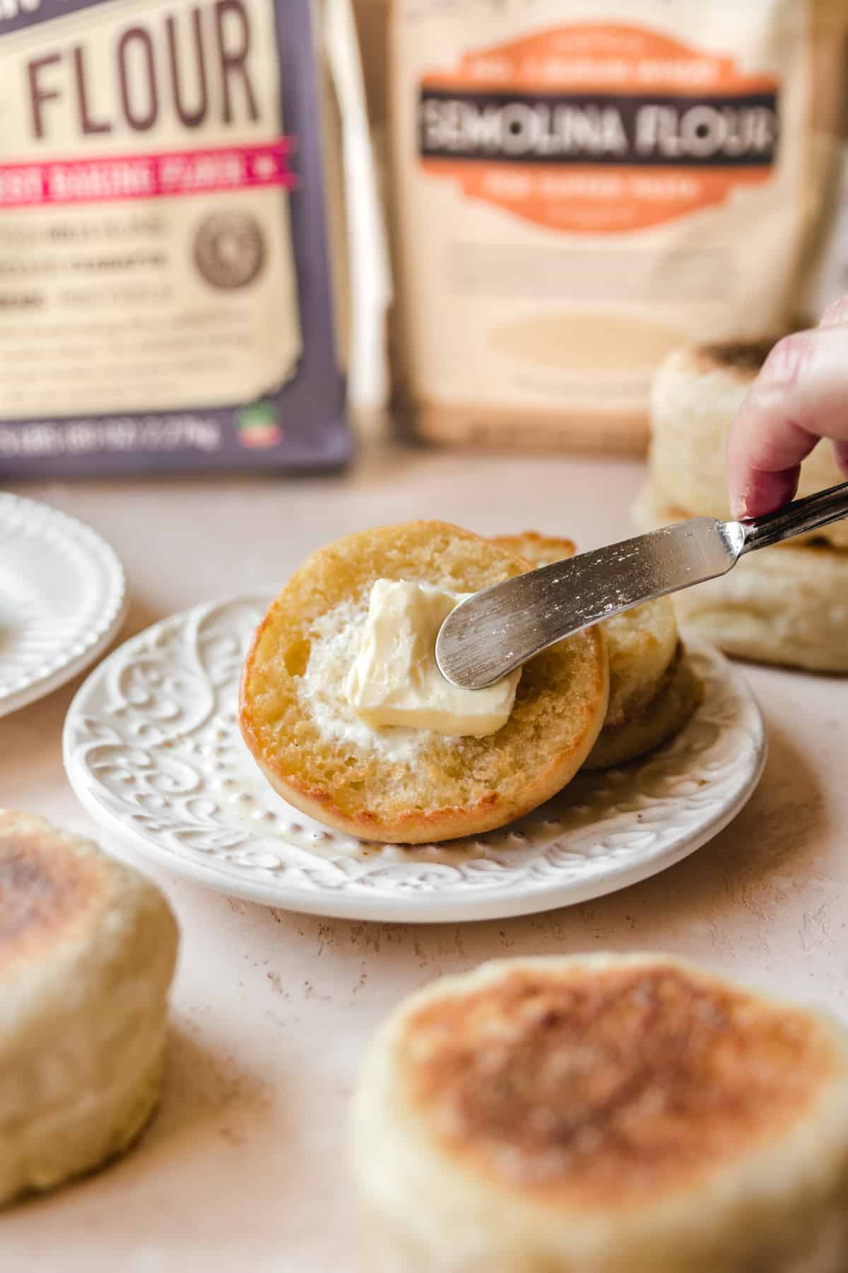 These English muffins are best enjoyed warm with a pat of butter or some jam.