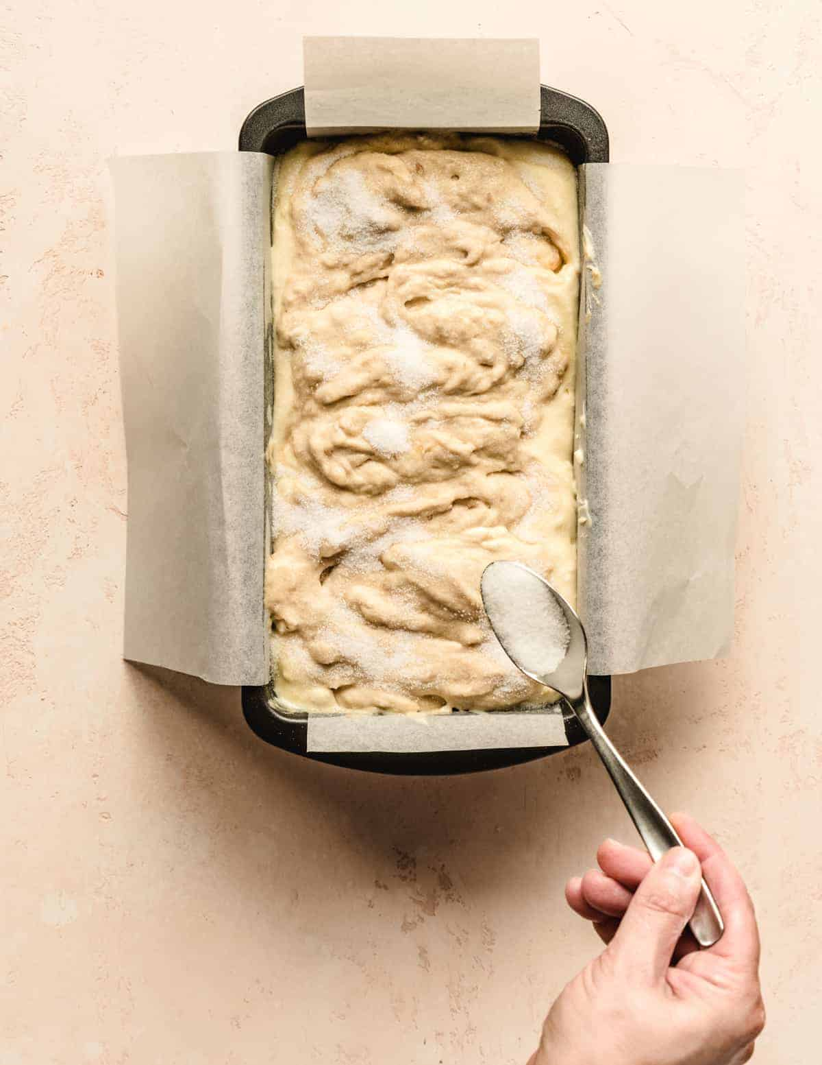 Add a sprinkle of sugar on top of your cream cheese banana bread to give it an extra crunch on top.