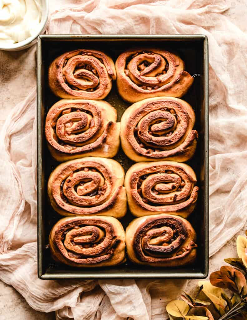 Even without the cream cheese frosting, these overnight apple pie cinnamon rolls are delicious.