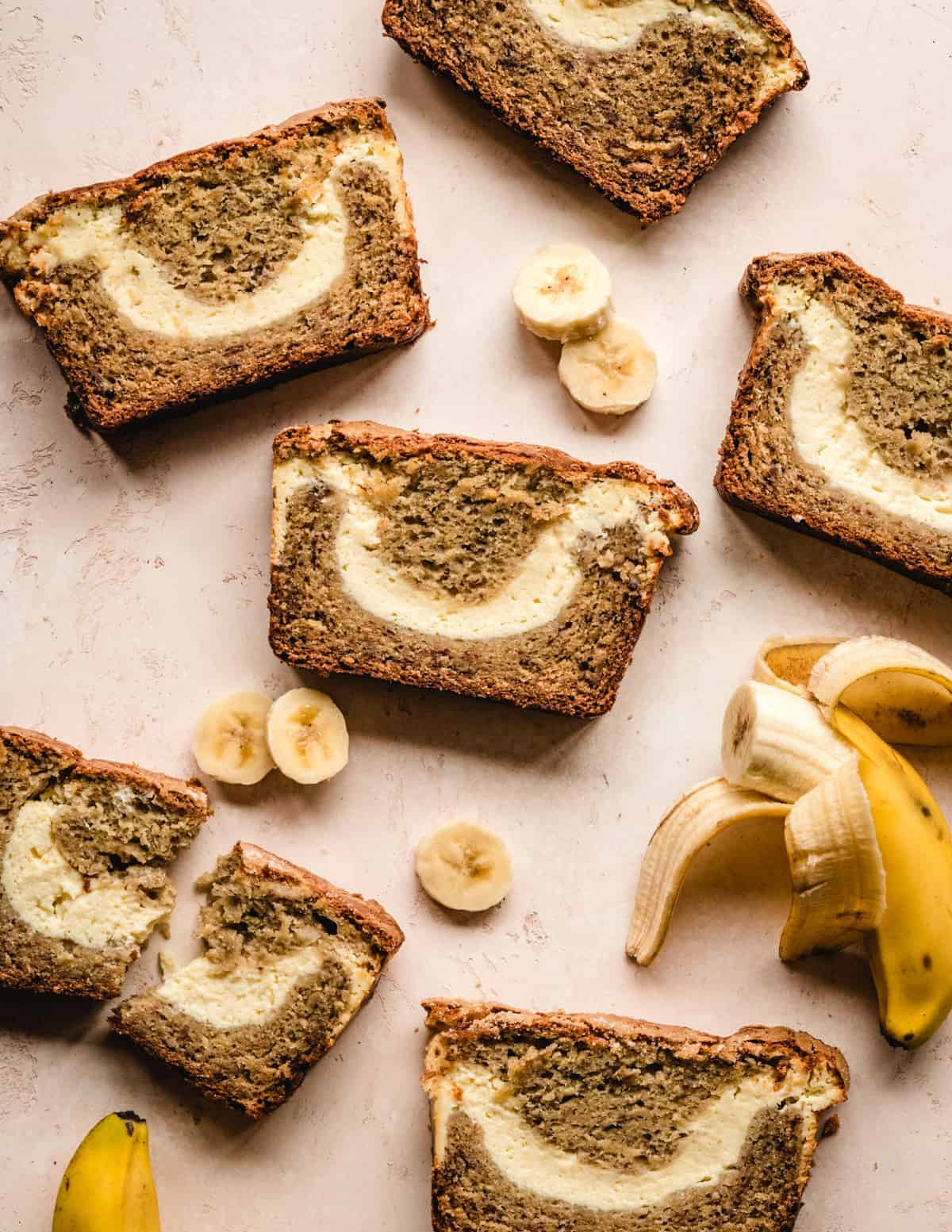 This banana bread has a delicious cream cheese swirl in the middle.