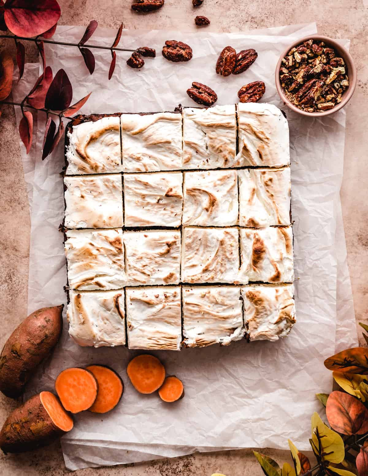 These sweet potato bars with toasted homemade marshmallow fluff on top are the perfect Thanksgiving dessert.