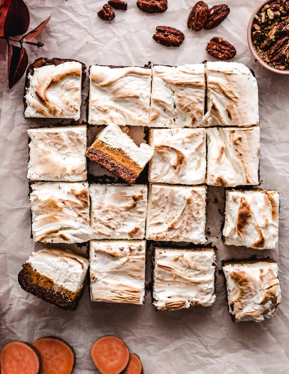 These layered sweet potato pie layer bars with homemade marshmallow fluff topping are a great potluck dessert to make this fall.