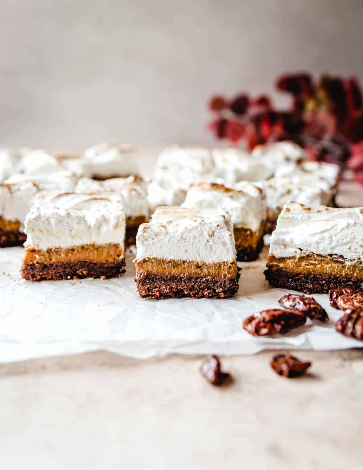 Enjoy these sweet potato pie bars through the entire fall season!