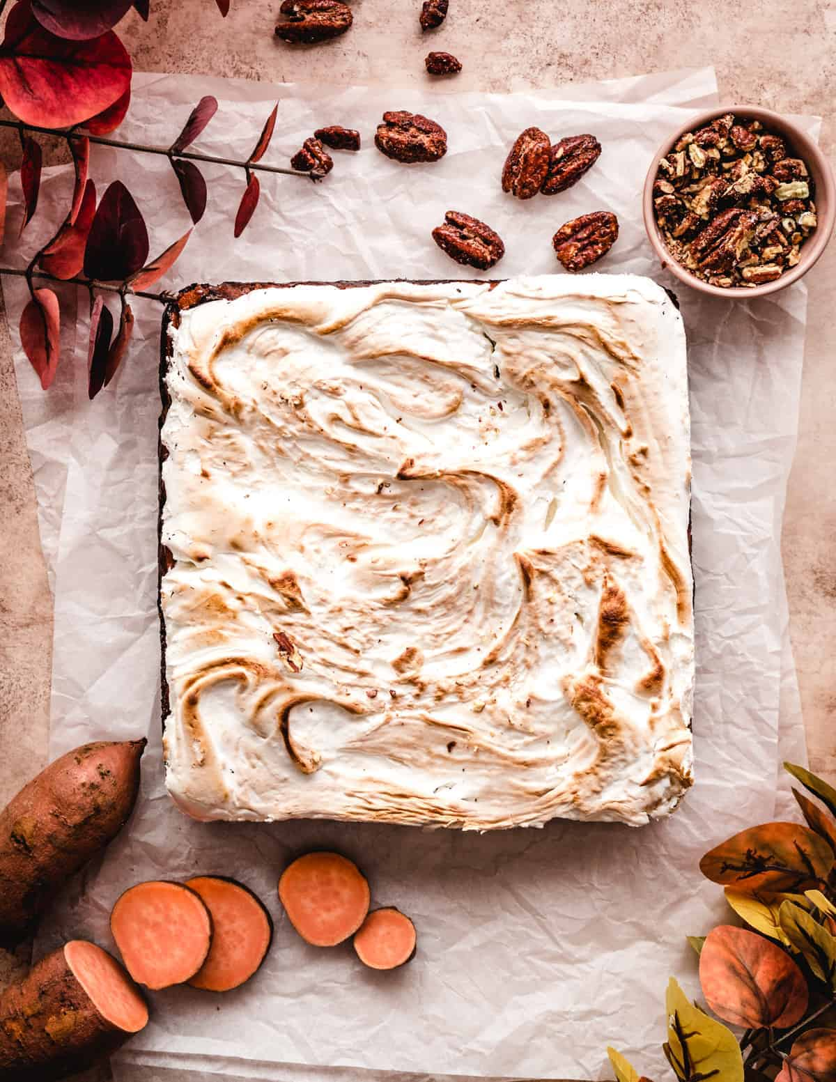 These sweet potato bars with homemade marshmallow fluff will be the perfect addition to your Thanksgiving dinner.