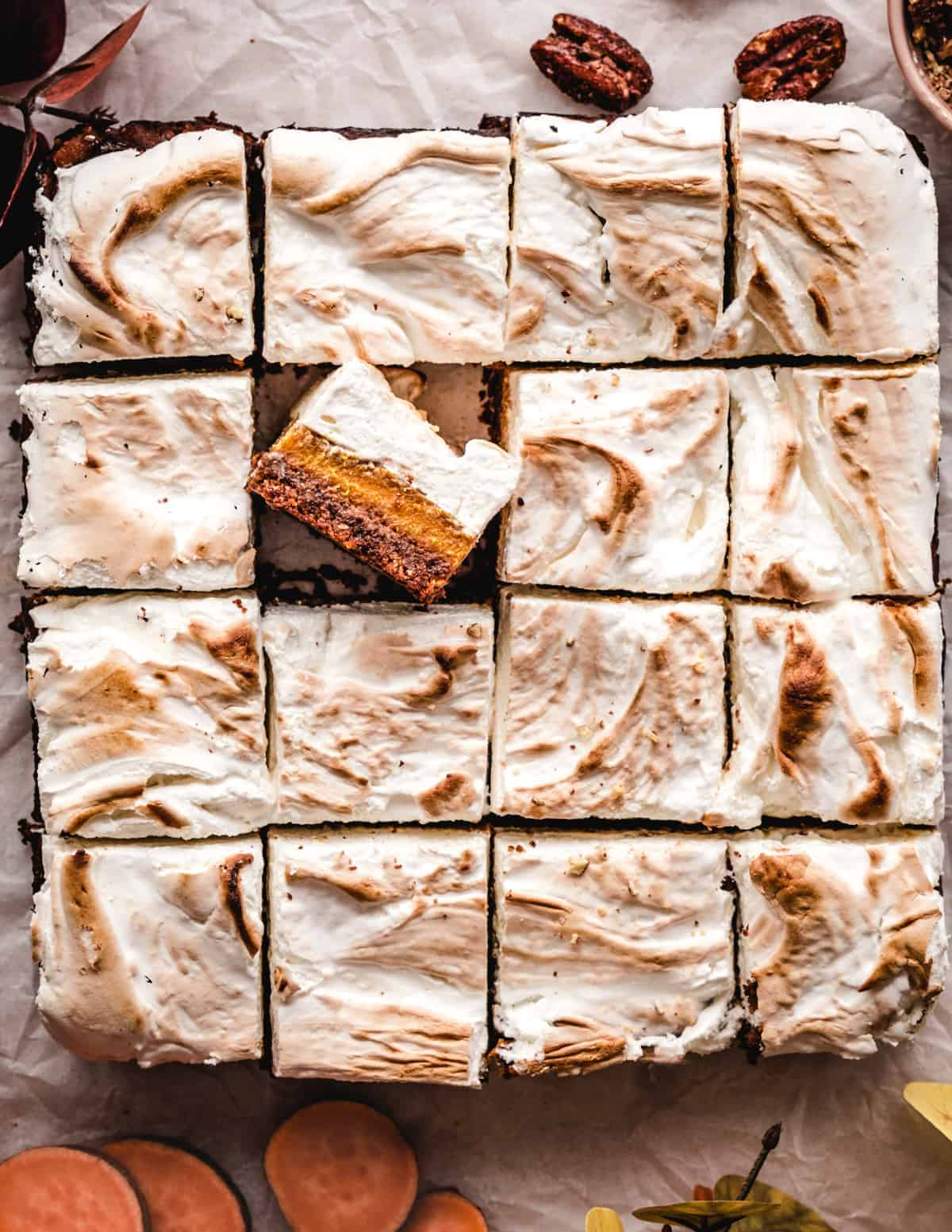 These homemade sweet potato bars have a thick layer of homemade marshmallow fluff on top of them.